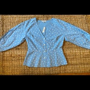 Madewell denim long sleeve polka dot blouse NWT